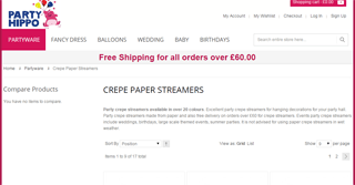 Party Hippo crepe paper streamers