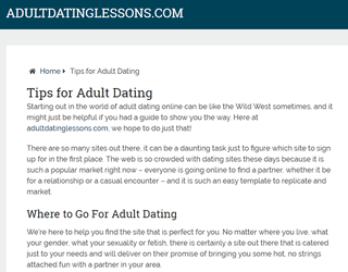 Adult Dating Lessons