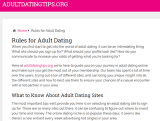 Adult Dating Tips