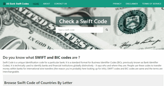 SWIFT code for all banks around the world