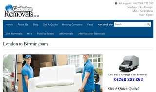 Cheap Man and Van London to Birmingham Removals - UK